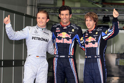 Pole winner Mark Webber, Red Bull Racing, second place Nico Rosberg, Mercedes GP, third place Sebastian Vettel, Red Bull Racing