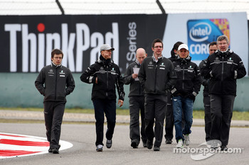 Michael Schumacher, Mercedes GP walk the circuit with Andrew Shovlin, Mercedes GP, Senior Race Engineer to Michael Schumacher, Nico Rosberg, Mercedes GP, Ross Brawn, Brawn GP, Team Principal