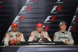 Post-race press conference: race winner Jenson Button, McLaren Mercedes, second place Lewis Hamilton, McLaren Mercedes, and third place Nico Rosberg, Mercedes GP Petronas