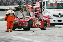 Car of Juan Pablo Montoya, Earnhardt Ganassi Racing Chevrolet after the wreck
