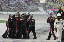 Joe Gibbs Racing Toyota team members celebrate