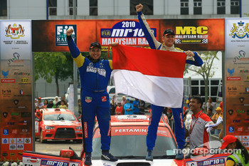 Third place, Rifat Sungkar with co-driver Scott Beckwith of Pertamina Rally Team
