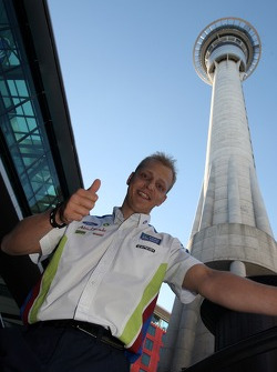 Mikko Hirvonen at the foot of Sky Tower