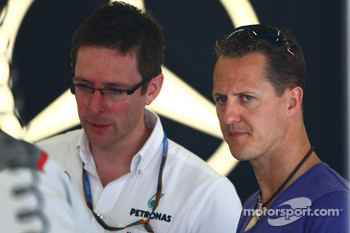 Andy Soucek with Michael Schumacher, Mercedes GP
