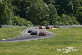 #28 LG Motorsports Corvette: Kelly Collins, Eric Lux, Lou Gigliotti leads exiting the Esses and heading for No Name Straight