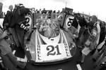 Gérard Larrousse drives the ACO-owned restored Porsche 917 LH on the pit straight