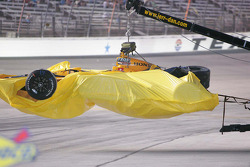 Simona De Silvestro's, HVM Racing, damaged car is returned to the pit lane