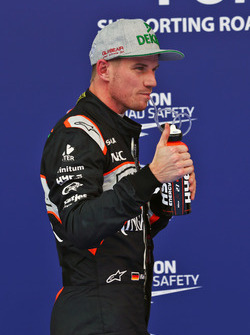 Nico Hulkenberg, Sahara Force India F1 celebrates his third position in qualifying parc ferme