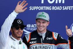 Polesitter Lewis Hamilton, Mercedes AMG F1 Team and third place Nico Hulkenberg, Sahara Force India