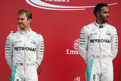 The podium (L to R): Nico Rosberg, Mercedes AMG F1 with team mate Lewis Hamilton, Mercedes AMG F1