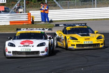 ADAC GT Masters Race 1 - Hannawald / Frentzen passing Eng / Seiler