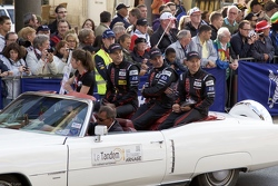 Johannes van Overbeek, Ed Brown & Jon Fogarty in the Drivers Parade at LE Mans