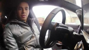 Lewis Hamilton driving the new Mercedes CLA