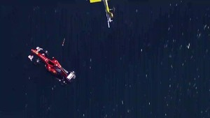 Banco Santander flies the Ferrari F1 car into Barcelona, suspended from helicopter