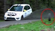 Cameraman hit by wheel from rally accident