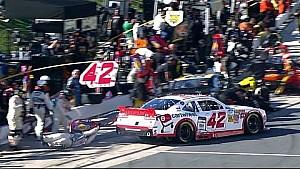 Larson takes gas man for a ride
