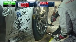 2015 12 Hours of Sebring GTLM Porsche 912 Fights With Left Rear Tire to Get it Out