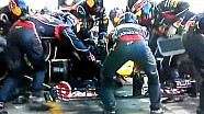 Vettel's pit stop front wing change during safety car F1 Abu Dhabi 2012
