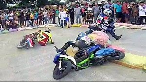 Scooter racing crash turns into a fight
