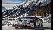 Lamborghini Huracán LP 620-2 Super Trofeo performs on ice