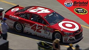 Larson loses rear track bar mount, sent to the garage