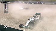 GP d'Espagne - Départ et accrochage des deux Mercedes !