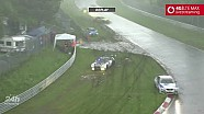 Massive chaos and crashes at the 24 Hours of Nürburgring during a hail storm