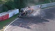 VLN heavy crash and roll-over of BMW 235i at Nürburgring