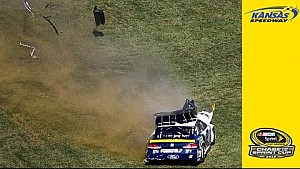 Hamlin bumps Keselowski, grass destroys No. 2 car