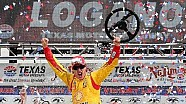 Joey Logano celebrates in Victory Lane after winning Duck Commander 500