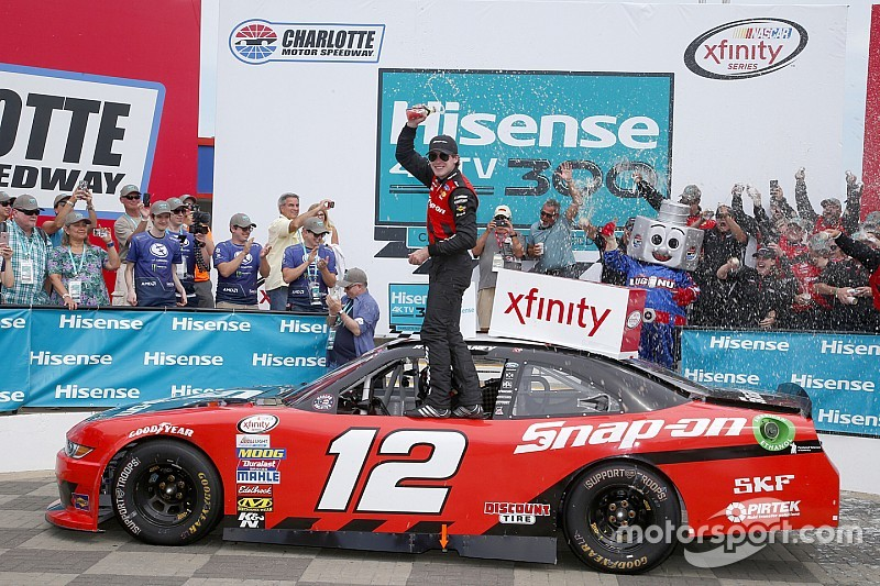 Blaney passes Harvick on final restart to win Xfinity race at Charlotte