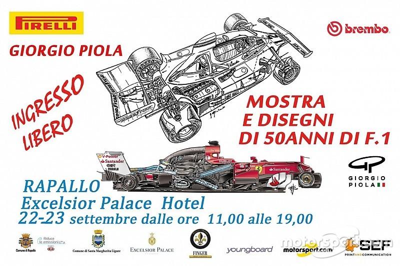 Giorgio Piola festeggia i 50 anni di F1 con una mostra di disegni a Rapallo