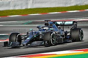 Test Barcellona, Giorno 1, ore 12: Bottas con la Mercedes salta davanti alla Ferrari