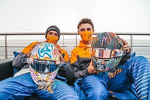 Norris and Sainz unveil helmets for World Mental Health Day