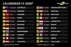 Le calendrier F1 2020 dévoilé avec 22 Grands Prix
