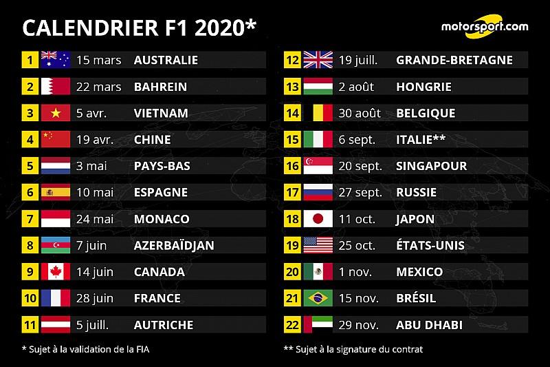 Calendrier Moto Gp 2020.Le Calendrier F1 2020 Devoile Avec 22 Grands Prix