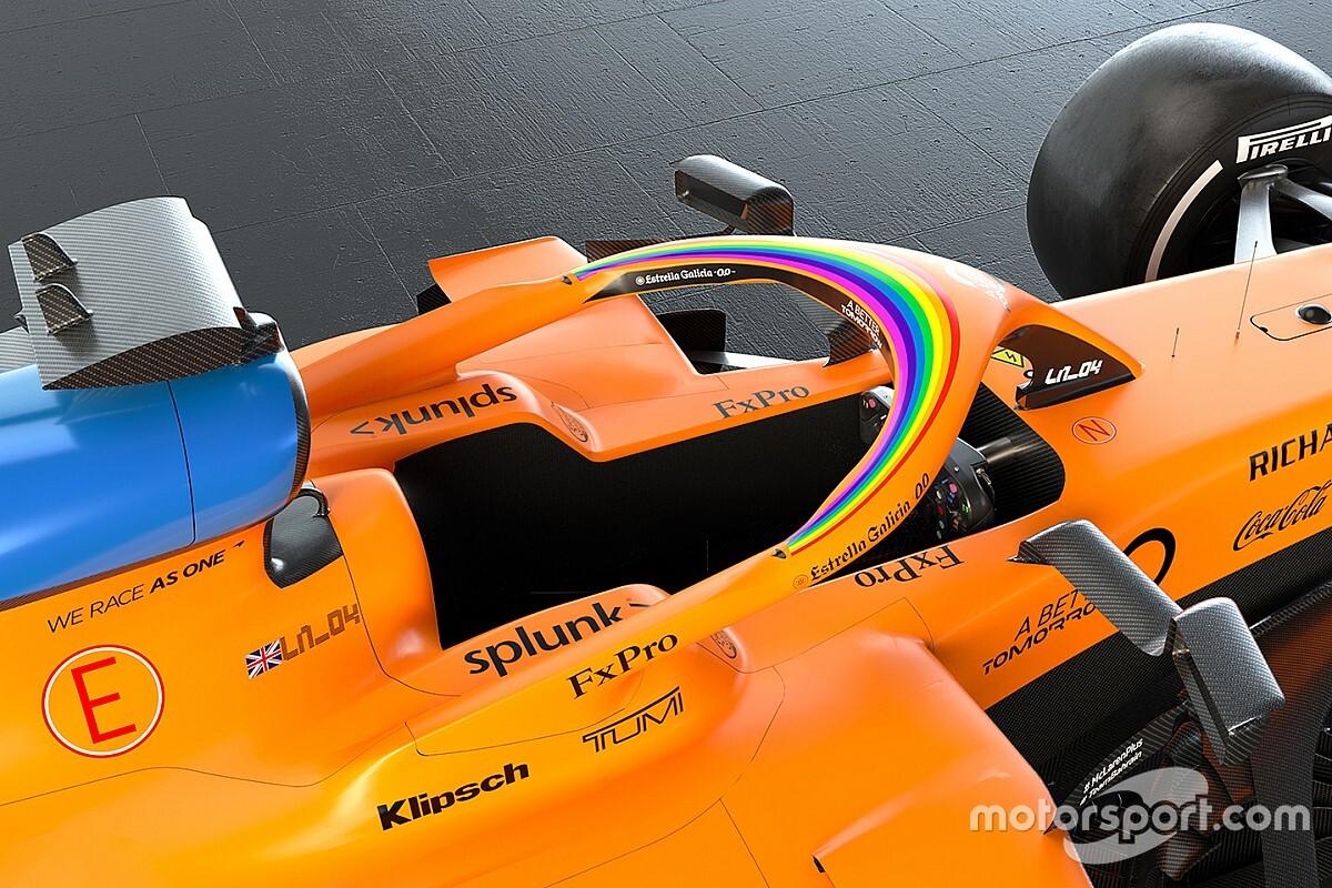 F1 staat op tegen racisme: #WeRaceAsOne en regenboog op de auto's