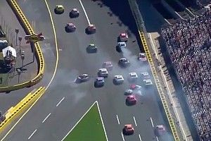 Restart pileup takes out several contenders - video