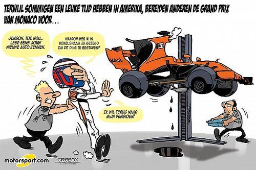 Cartoon van Cirebox - Jenson Button maakt kennis met McLaren-Honda MCL32
