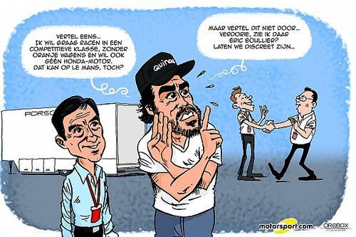 Cartoon van Cirebox - Alonso zoekt racestoeltje op Le Mans