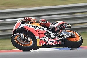 Argentina MotoGP: Marquez leads Honda 1-2 in wet warm-up