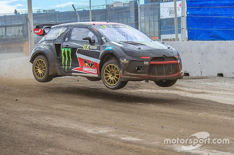 Solberg escapes serious injury in freak finish line crash