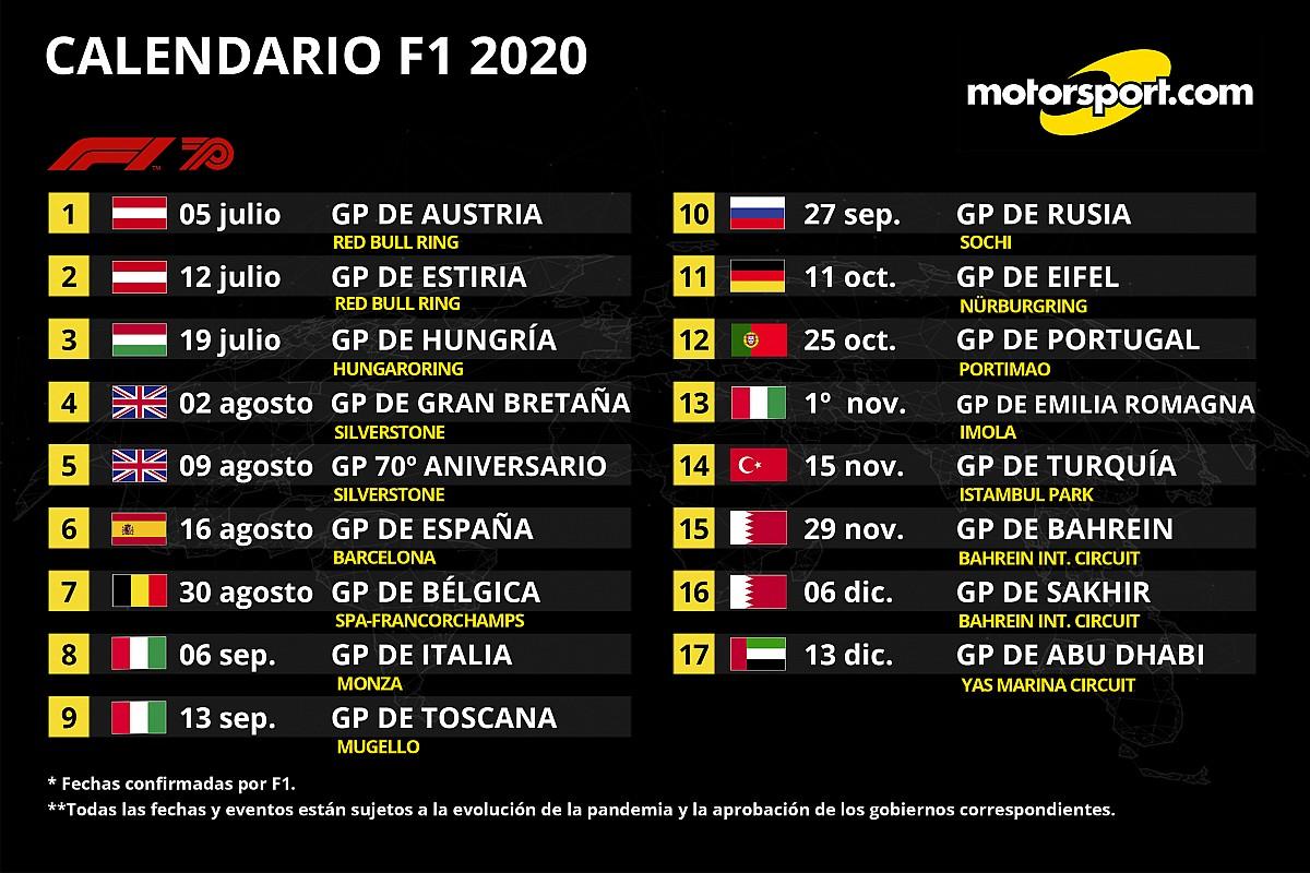 Así queda el calendario definitivo 2020 de F1