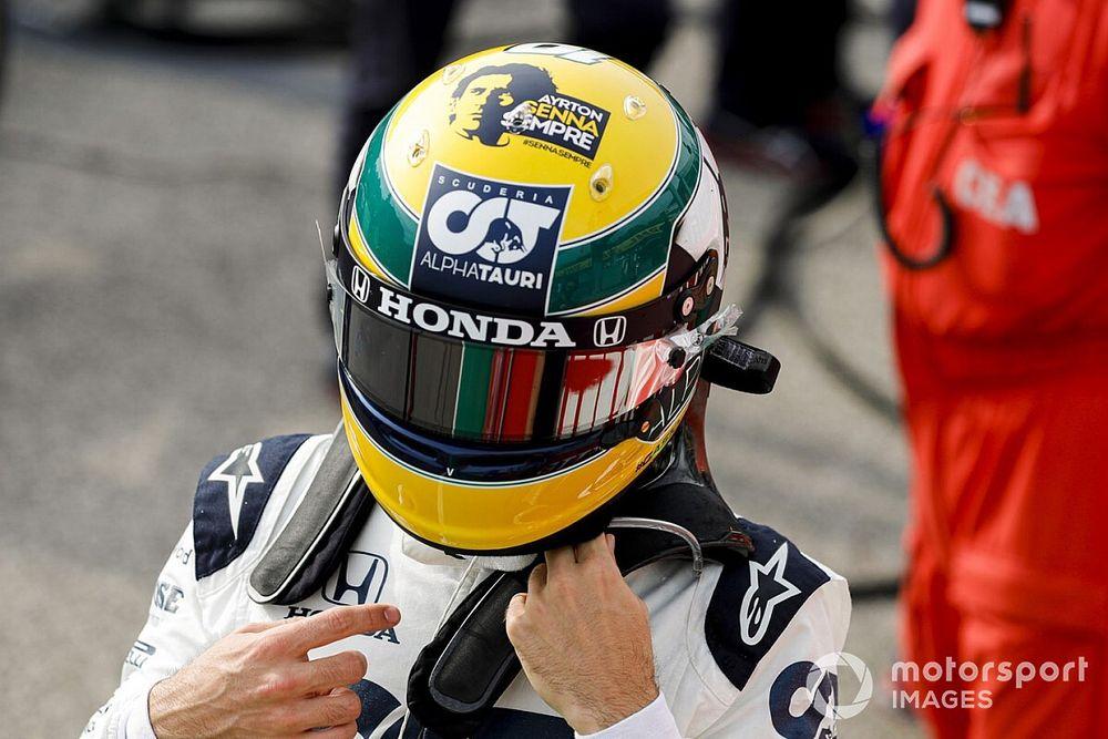 Gasly: all'asta il casco tributo per Senna usato a Imola