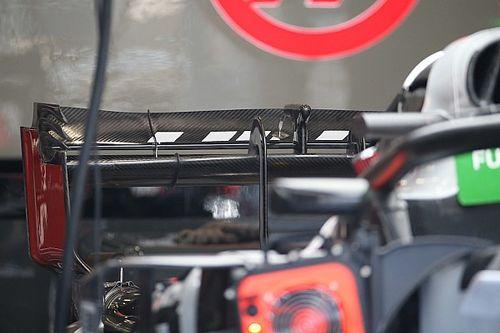 Haas: flap mobile posteriore molto incavato e sono diversi i piloni del muso