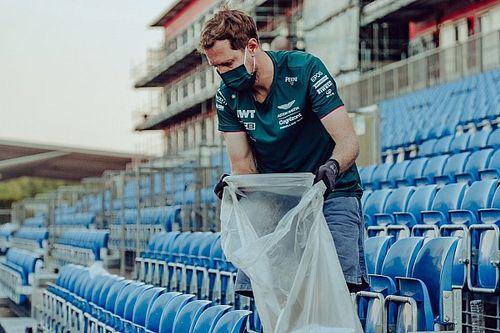 Vettel ruimt samen met Formule 1-fans zwerfafval op na Britse GP