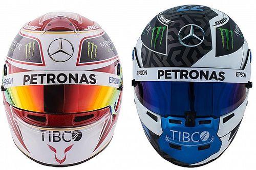 GALERÍA: los cascos de Hamilton y Bottas