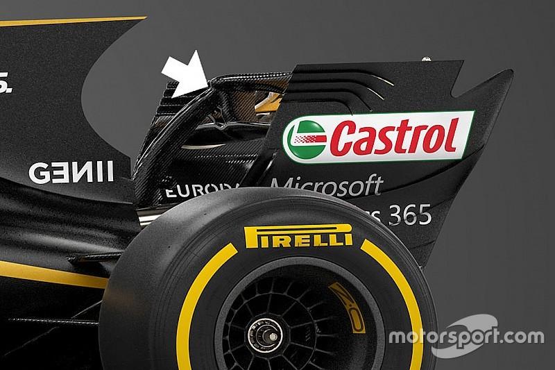 Renault: il mono pilone della R.S.17 si ancora al DRS. È legale?
