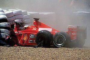 GALERIA: Há 20 anos, Schumacher quebrava perna no GP da Grã-Bretanha e abdicava do título