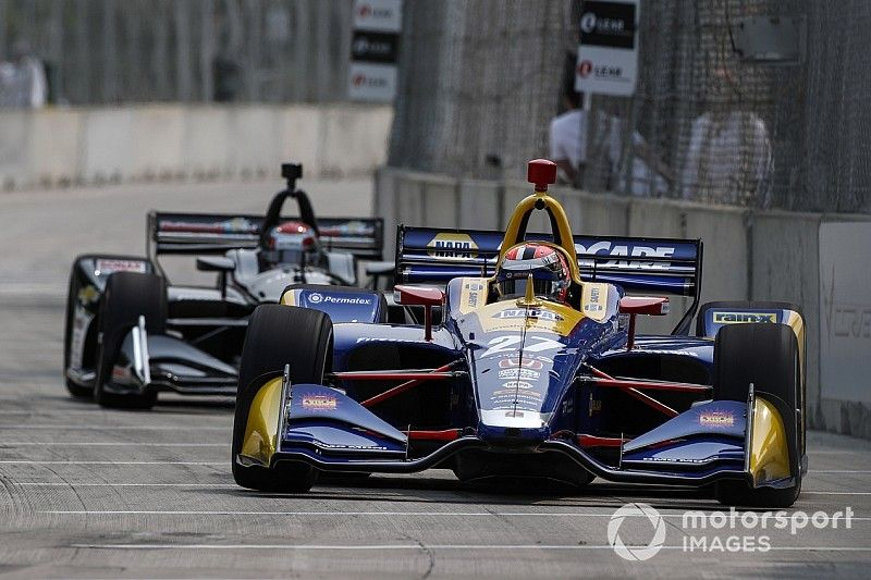 Detroit IndyCar: Rossi top as Pagenaud wall-brush halts FP2 early